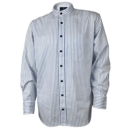 The Celtic Ranch Traditional Collarless Grandfather Shirt, Men's Long Sleeve Dress Shirt (Blue and White Stripe, Small)