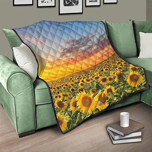 Flowerhome Colcha con diseño de girasol y puesta de sol, color blanco, 230 x 280 cm