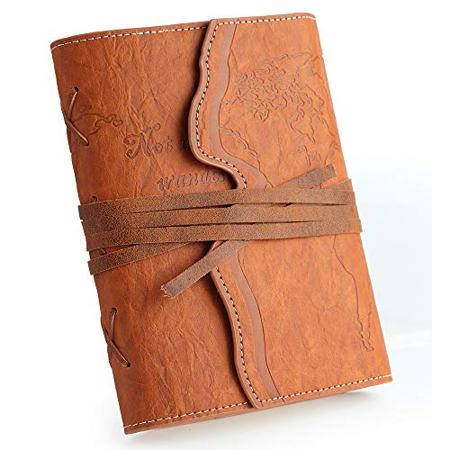 Wrting Journal for Women and Men | 7''x5'' | 192 Lined Fountain Pen Friendly Paper | Refillable Vegan Leather Bound Travel Notebook | Daily Use Gifts for Vegatarians Teachers (Brown, Lined)