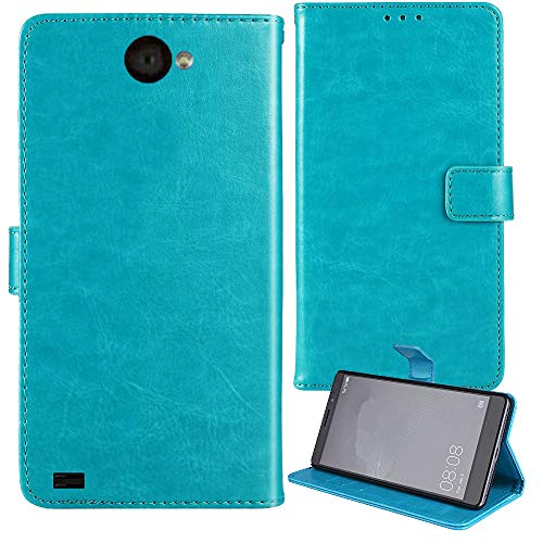 """Lankashi Stand Premium Retro Business Flip Leather Case Protector Bumper for Unimax UMX U683CL 5"""" Protection Phone Cover Skin Folio Book Card Slot Wallet Magnetic(Blue)"""