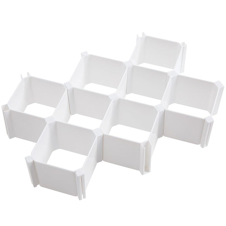 EXCEL-LEADER Drawer Organizers,Household Plastic Partition Honeycomb Underwear Socks Bras Ties Belts Scarves Drawer Divider Cabinet Clapboard Storage Closet,6 Piece(White)