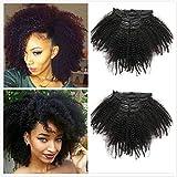 Extensiones de pelo humano cabello humano 4B 4C, 100% natural, color negro, pinza para el pelo, cabeza completa, cabello brasileño virgen Remy 8 piezas/set de 100 g para mujeres negras