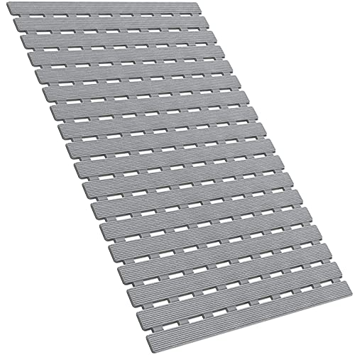 Non Slip Bath Mat Quick Drain Shower Floor Mat Colorful Bathtub Mat Slatted Duckboard Design with Suction Cups for Bathroom Hotel Gym Kitchen | Easy Dry| Non-Toxic, BPA, Latex, Phthalate Free(Grey)