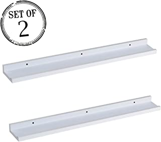 O&K Furniture Picture Ledge Wall Shelf Display Floating Shelves (White,31.5