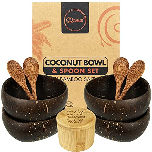 Zumelon Coconut Bowl and Spoon Set - Bamboo Salt Box with Lid   Organic Eco Friendly Gifts   Vegan   Smoothie, Soup, Popcorn Bowls   4 Deluxe 5.5 inch Polished Bowls…