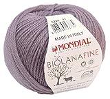 Biowolle Lane Mondial Bio Lana Fine Fb. 228 mauve, 50g reine Schurwolle zum Stricken, Babywolle Bio