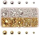 JIEERCUN 1 Caja Abdominales Perlas Medias Redondas Perla DE Perlas para Bricolaje Teléfono Nail Face Art, Tamaños Mixtos 3/4/5/6/8 MM (Oro, Plata) Joyas (Color : Multi-Colored)