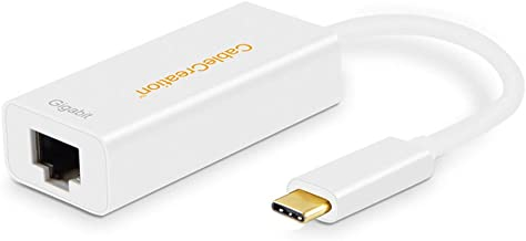 USB C to Ethernet Adapter, CableCreation Type C to Gigabit RJ45 LAN Network Adapter, Compatible with MacBook Pro,iPad Pro/MacBook Air 2018,Chromebook Pixel,Dell XPS 13/15,Samsung S8/S9, White