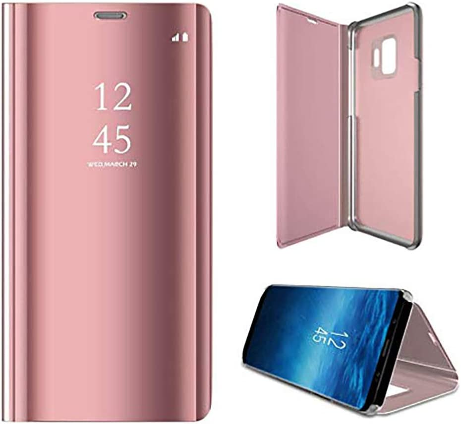 Anyos Galaxy S9 Case, Clear View Standing Mirror Flip PC Cover for Samsung Galaxy S9,Rose Gold