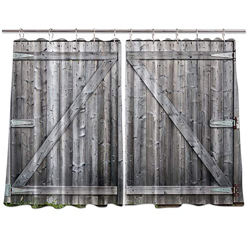 3D Digital Printing Village Wood Window Curtains, Rustic Grey Barn Wooden Doors on Farmhouse Curtains Panels, Kitchen Decorations Window Drapes, Window Treatment Sets with Hooks, 55X39Inches (Multi3)