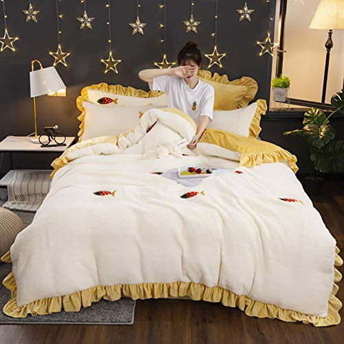 MNBVC Bedding Duvet Cover 4 Piece Set,Flannel Bedding Sets Thick Warm Cute Sheet Duvet Cover For Kids Adults King Size