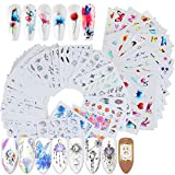 VEGCOO 54 Hojas Nail Art Stickers Uñas Decoración Pegatinas de Arte, 3D Uñas Art Pegatinas Autoadhesiva Decorativas (B)