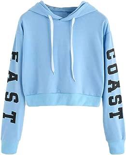 Cuekondy Women Teen Girls Letter Printed East Coast Long Sleeve Crop Top Hoodie Sweatshirt Casual Pullover Tops Blouse