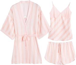 TYT Estilo Chino Pijamas Sexy Mujer Verano Hielo Seda Honda Honda Pantalones Cortos Impresos Conjunto de 3 Piezas Traje de...