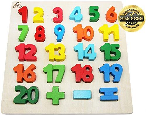 EasY FoxY ToY Zahlen-Holzpuzzle Grosse Bunte Nummern 1-20, Holzspielzeug für Spielerisches Lernen von Zahlen, Motorikspielzeug ab 2 Jahre Rahmenpuzzle Geschenk für Kinder, Kinderpuzzle für Spiel Spaß