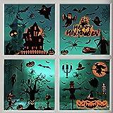 Akface 98PCS Halloween Fenêtre Autocollants Amovible, Fenêtre Miroir Autocollants pour Halloween Décorations De Fête pour Maisons hantées Salle De Bains