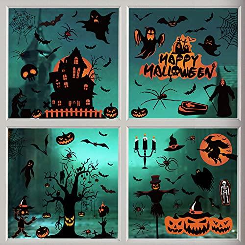 Akface 98 Piezas Pegatinas de Ventana de Halloween Estáticas Impermeables, Pegatinas para Puertas Espejo Pared, DIY para Fiestas Hogar Tienda y Escolar