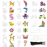 Homgaty Bügelperlen Platten, 18 Stück Bügelperlen Stiftplatte mit 4 Stück Pinzette, 18 Stück Kleine Hängendes Seil, Steckplatten Set für DIY-Prozess Manuelle Erstellung, Verschieden Muster -