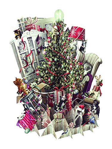 Paper D'Art XTW007 3D Pop Up Cats Decorating The Tree Christmas Greeting Card, Paper