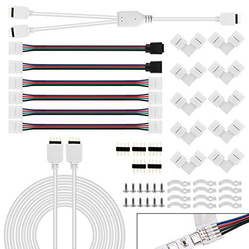 YAOBLUESEA 2 conectores para tiras de LED, accesorios de extensión, conectores de esquina, clips de fijación, distribuidores, tiras divisoras de cable para tiras LED RGB 505