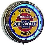 ELG Companies LLC 16' We Use Chevy Genuine Parts Sign Blue Neon Advertising Clock Garage Decor