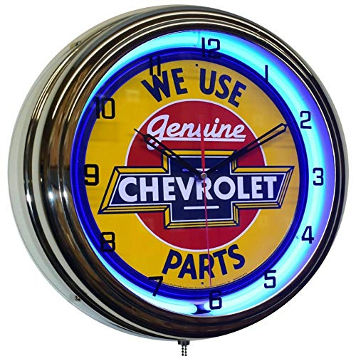 ELG Companies LLC 16  We Use Chevy Genuine Parts Sign Blue Neon Advertising Clock Garage Decor