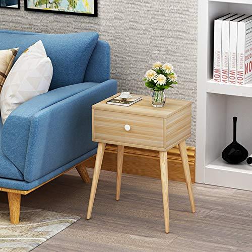 Comodino, comodino, comodini, comodini con un cassetto per casa, tavolino da caffè, snack e vino con gambe in legno massello, 44 x 35 x 59 cm (colore giallo)