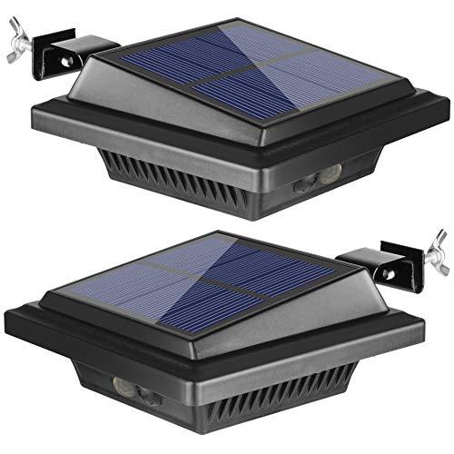 BILLION DUO Dachrinne Solarleuchte mit Bewegungsmelder 40 LEDs   Solarlampen für Außen   Schwarz Gartenbeleuchtung Warmweißes Solarlicht, 3W PIR Sicherheitswandleuchte Außenlampe für Garage, Patio