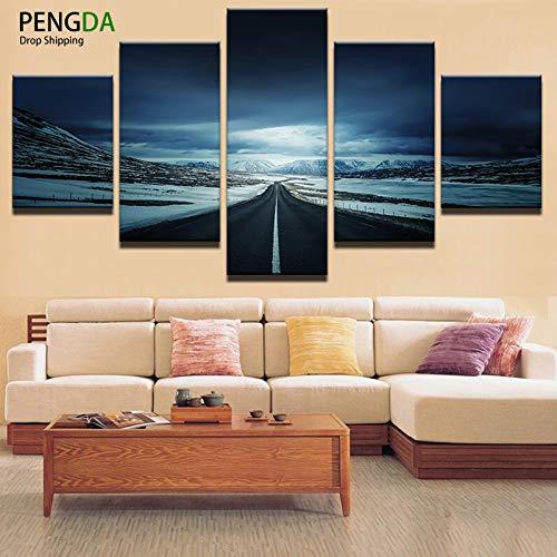 yuandp decoratieve muurkunst canvas schilderkunst kunst afbeelding 5 bord sneeuw bergen verrekijker landschap modern schilderen L-30x40 30x60 30x80cm Frame