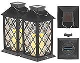 Lunartec Gartenlaternen Windlicht: Solar-Laterne mit Deko-Kerze und Flammen-Effekt-LED, 2er-Set (Solar-Laternen mit Flacker-Kerze)
