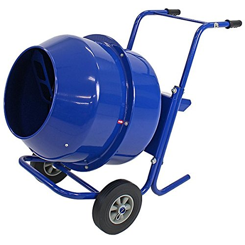 コンクリートミキサー 青 練上量70L ドラム容量140L 電動 モーター式 100Vモーター 混練機 攪拌機 かくはん機 コンクリート モルタル 堆肥 肥料 飼料 園芸 タイヤ 車輪 キャスター ミキサー 攪拌 かくはん 混錬 混ぜる 練る ブルー BL