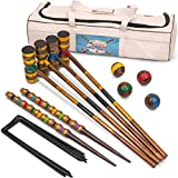 Crown Sporting Goods Vintage Croquet - Classic Outdoor Game, 4 Players - Wooden Balls, Mallets, Steel Wickets, Stake, Heavy Duty Canvas Bag - Nostalgic Toys & Family Fun