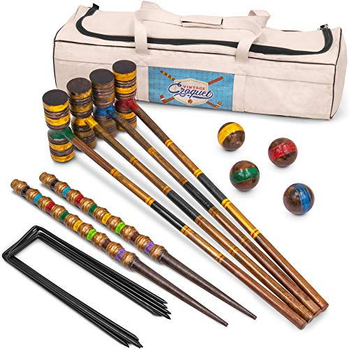 Crown Sporting Goods Vintage Croquet - Classic Outdoor Game, 4 Players - Wooden Balls, Mallets, Steel Wickets, Stake, & Heavy Duty Canvas Bag - Nostalgic Toys & Family Fun
