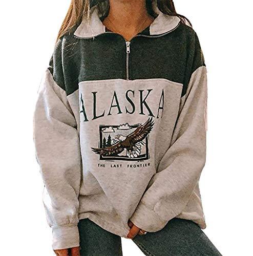 """Sudadera de manga larga, para mujer, con estampado de """"Alaska"""" y cremallera, estilo hip hop verde L"""