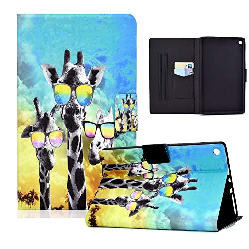 zl one Compatible con/Reemplazo para Tablet PC Kindle Fire HD 10 (9ª, 7ª y 5ª generación, 2019/2017/2015) PU Funda de piel sintética con función atril (Glasses Giraffe)