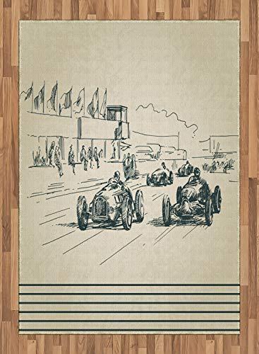 ABAKUHAUS Oldtimer Teppich, Rennwagen Sketchy, Deko-Teppich Digitaldruck, Färben mit langfristigen Halt, 160 x 230 cm, Beige