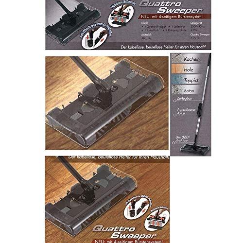 Megaprom - Flexi Sweeper 360° Akku-Kehrbesen mit 4 TLG. Bürstensystem | Kehrmaschine | Akkubesen | Bodenkehrer | Staubsauger - Beutellos