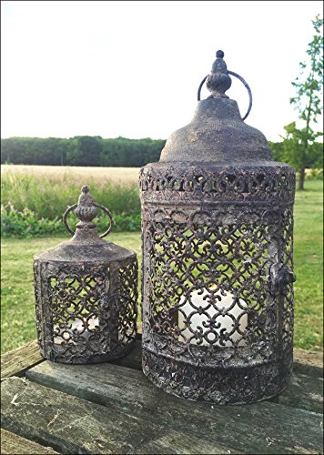 Vintage Moorish Lantern Candle Holder, Set of Two Moroccan Garden Indoor or Outdoor Use, Rustic
