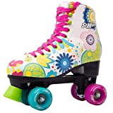 STMAX Quad Roller Skates for Girls and Women- Size 2.5 Youth to 8.5 Women - Outdoor, Indoor and Rink Skating- Classic, Hightop and Fashionable Design (Floral 34)