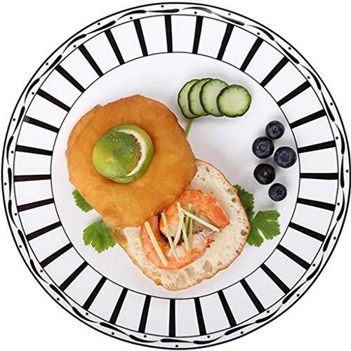 CHRYE-Assiettes Assiette à déjeuner Ronde, en Porcelaine Tendre 36%, à Rayures Noires et Blanches Classiques, for présentoir à Pizza au Pain de Dessert, 8/10 Pouces en Option