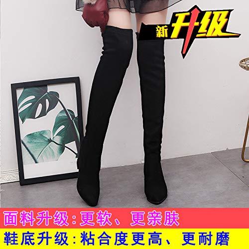 Shukun enkellaarsjes over de knielaarzen vrouwelijke herfst was dun hoge hakken laarzen studenten dik met hoge laarzen, 37, zwart A