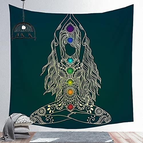 KHKJ Estatua de Buda Indio Tapiz Sala de Estar Dormitorio Revestimiento de Paredes Meditación Psicodélico Yoga Colgante de Pared Hippie Boho Decoración A4 200x150cm