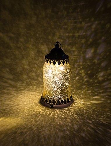 Home&Decorations LED Original-Glas Laterne Flaschenlicht Flasche batteriebetrieben antik Gold Ø 8 cm × H 21 cm