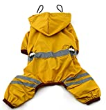 MaruPet Outdoor Polyester Puppy Waterproof Glisten Yellow Four-Leg Raincoat Doggie Hooded Rain Gear Jumpsuit for Small Extral Small Dog Teddy, Pug, Chihuahua, Shih Tzu, Yorkshire Terriers XL