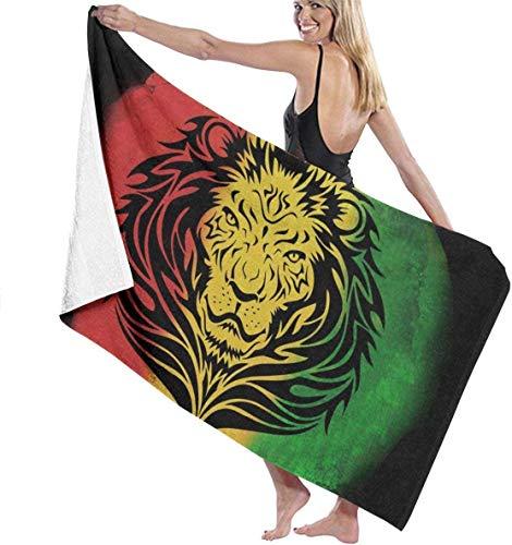 Toalla de Playa Rasta Lion Black Toalla de Personalidad Toalla de baño de Gran tamaño con Agua 130x80 cm