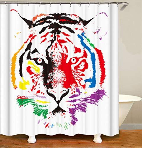 ZZZdz handbeschilderd. Wilder Tiger. Douchegordijn. 180 x 180 cm. 12 vrije haken. Huisdecoratie. 3D Hd-druk. Eenvoudig te reinigen. Badkameraccessoires.