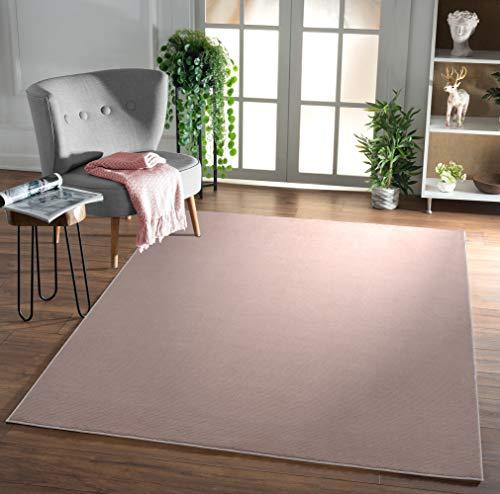 Mirano Glänzender, Luxuriöser, Hochwertiger Wohnzimmer Teppich, Dichter Kurzflor, Super Soft, Pink, 120x170 cm