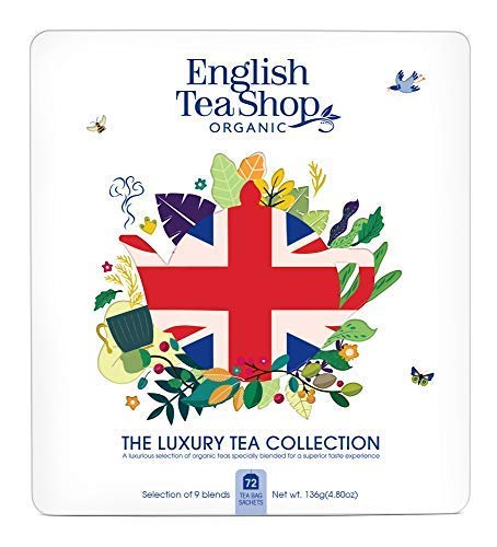 English Tea Shop Selezione di Tè Biologici e Tisane in Latta di Metallo Bandiera Inglese - 1 x 72 Bustine di Tè (136 Grammi)