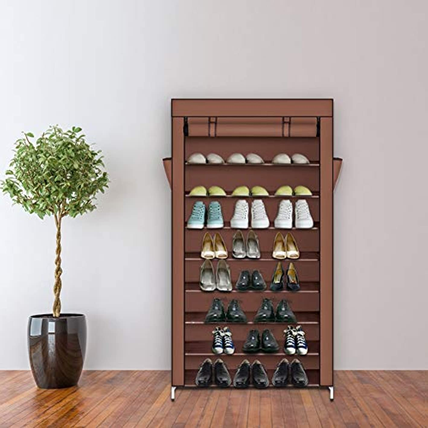 GOTOTOP 10 Tiers Shoe Tower Rack with Dustproof Nonwoven Fabric Cover Space Saving with Zipper Closet Shoe Storage Cabinet Organizer Mocha