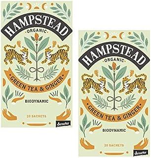 Hampstead Tè Verde Biologico e Biodinamico con Zenzero - 2 x 20 Bustine di Tè 80 Grammi